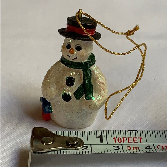 "Vintage Other - 1.5"" snowman Christmas tree ornament used"
